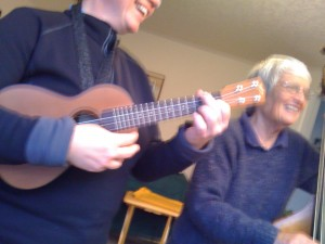 ukulele and double bass jam session